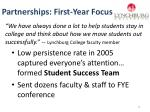 partnerships first year focus