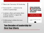 two decades of leadership for first year efforts