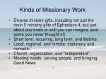 kinds of missionary work