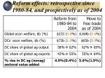 reform effects retrospective since 1980 84 and prospectively as of 2004