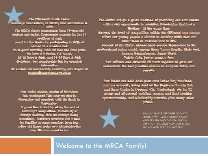 welcome to the mrca family n.