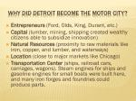 why did detroit become the motor city
