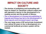 impact on culture and society