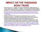 impact on the tanzanian book trade