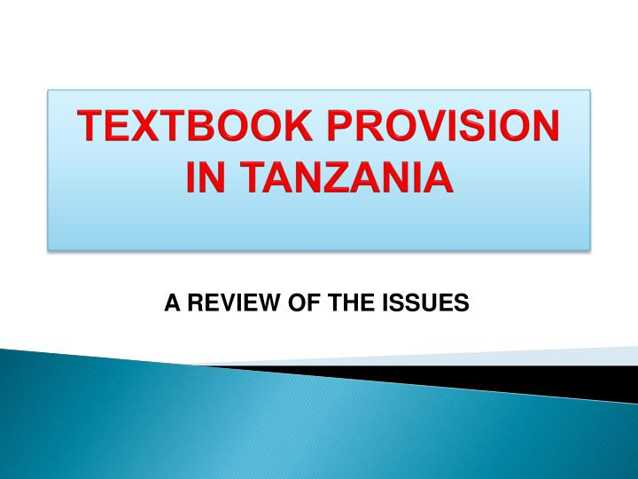 textbook provision in tanzania n.