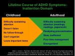 lifetime course of adhd symptoms inattention domain