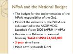 npoa and the national budget