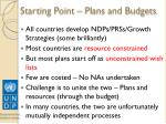 starting point plans and budgets