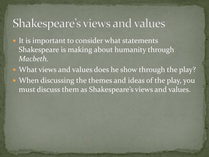 an analysis of the main themes of shakespeares macbeth Shakespeare makes that clear from the outset, when the grim trio greets macbeth with titles he has yet to acquire, and banquo sees him 'start, and seem to fear / things that do sound so fair', and then become strangely 'rapt withal' (1351-2, 57.