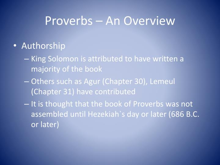 summary of the book of proverbs chapter by chapter