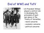 end of wwi and tofv