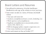 board letters and resumes