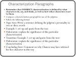 characterization paragraphs