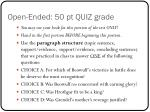 open ended 50 pt quiz grade
