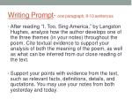 writing prompt one paragraph 8 10 sentences