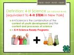 definition 4 h science at national level equivalent to 4 h stem in new york