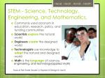 stem science technology engineering and mathematics
