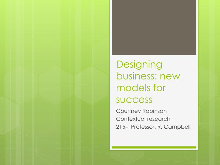 designing business new models for success n.