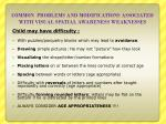 common problems and modifications associated with visual spatial awareness weaknesses