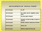 development of spatial terms