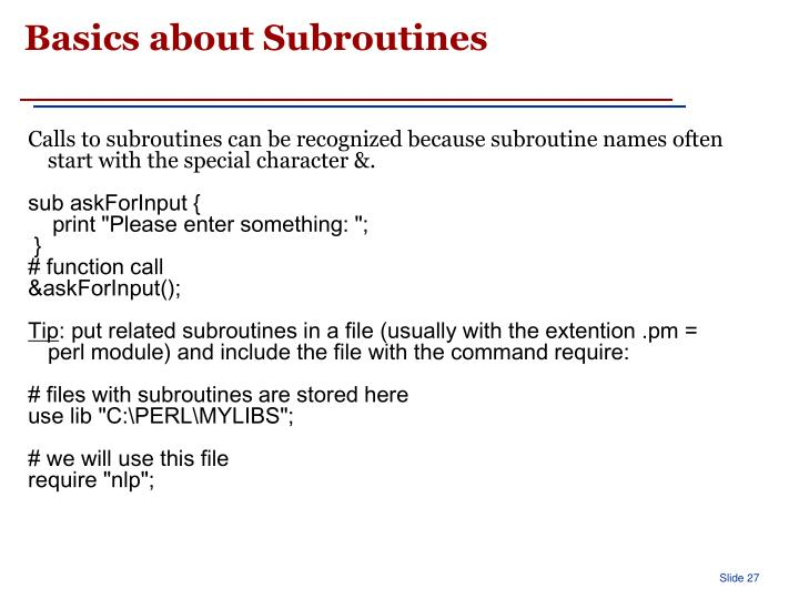 Basics about Subroutines