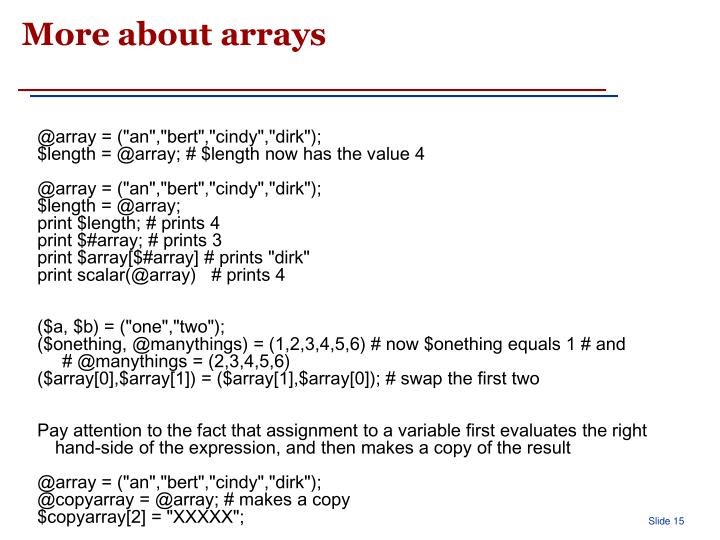 More about arrays
