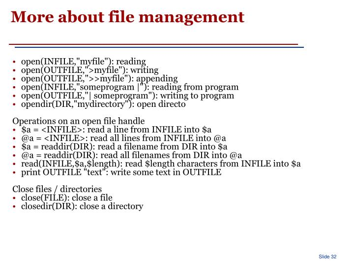 More about file management