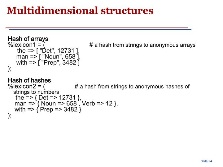 Multidimensional structures