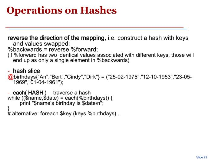 Operations on Hashes
