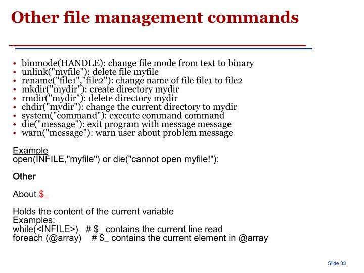 Other file management commands