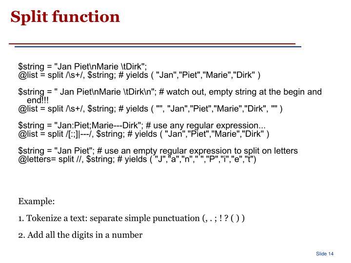 Split function