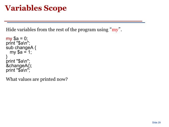 Variables Scope