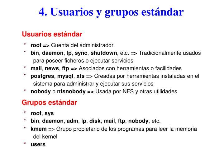 4. Usuarios y grupos estándar