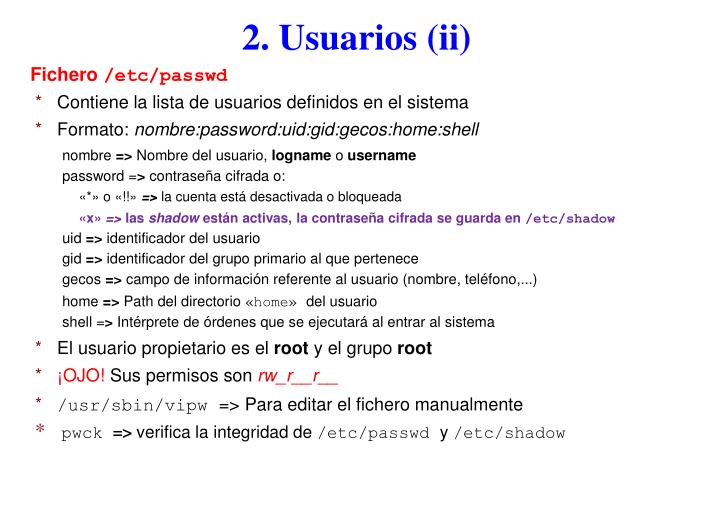 2. Usuarios (ii)
