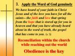 3 apply the word of god genuinely
