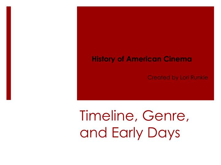 timeline genre and early days n.