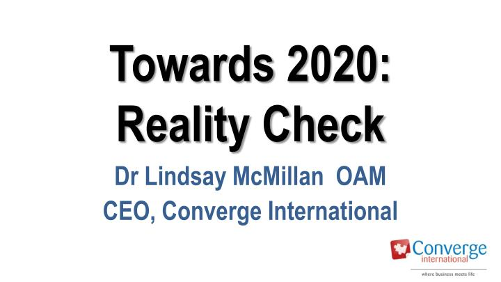 towards 2020 reality check n.