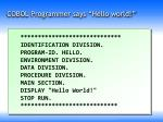 cobol programmer says hello world
