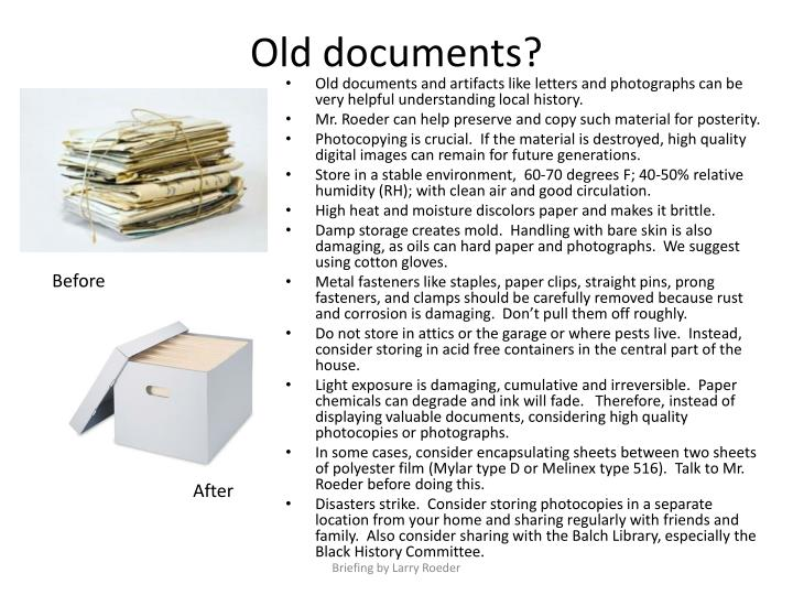 PPT - O ld documents? PowerPoint Presentation - ID:2223621
