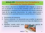art culo 442 documentos que acompa an la declaraci n de tr nsito aduanero