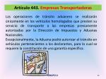 art culo 443 empresas transportadoras