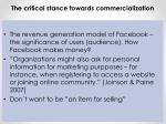 the critical stance towards commercialization