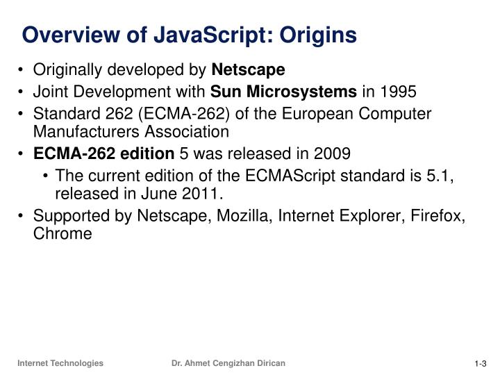 Overview of javascript origins
