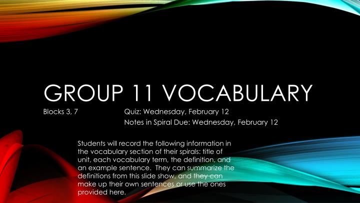 group 11 vocabulary n.
