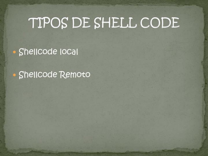 TIPOS DE SHELL CODE