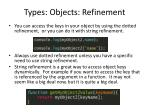 types objects refinement