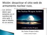 misi n desactivar el sitio web de armamento nuclear ruso