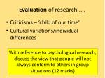 evaluation of research
