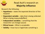 read asch s research on majority influence