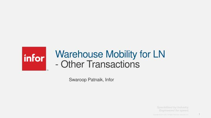warehouse mobility for ln other transactions n.